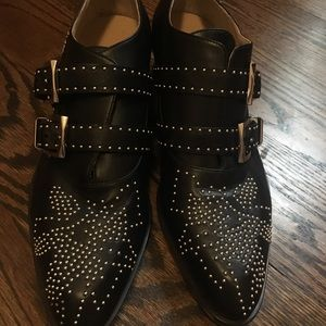 Chloe black leather studded low ankle boots 39